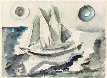 JOHN MARIN Seascape with Sailboat.