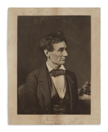 (PRINTS--1860 CAMPAIGN.) Doney, Thomas; engraver. Untitled portrait of the beardless Lincoln.
