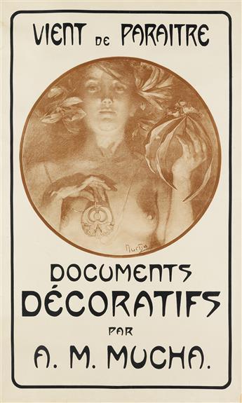 ALPHONSE MUCHA (1860-1939). DOCUMENTS DÉCORATIFS / VIENT DE PARAITRE. 1901. 29x17 inches, 75x45 cm. [F. Champenois, Paris.]