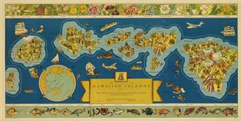 PARKER EDWARDS (DATES UNKNOWN). THE DOLE MAP OF THE HAWAIIAN ISLANDS. 1937. 18x37 inches, 47x94 cm. Independent Pressroom, Inc., San Fr
