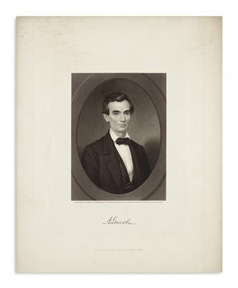 (PRINTS--1860 CAMPAIGN.) Sartain, Samuel, engraver; after Brown. Both states of Sartains early campaign portrait.