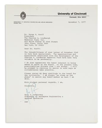 (ASTRONAUTS.) ARMSTRONG, NEIL. Two Typed Letters Signed, regarding the Charles A. Lindbergh Memorial Fund.
