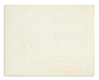 BRAQUE, GEORGES. Inscribed and Signed drawing of bird in gold ink, dated [19]60,