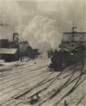 ALFRED STIEGLITZ (1864-1946) In the New York Central Yards * The City Across The River, from Camera Work Number 36.