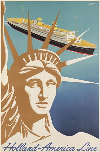FRANCISCUS J.E. METTES (1909-1984). HOLLAND - AMERICA LINE. 1955. 37x24 inches, 94x61 cm.