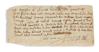 JOHN ENDECOTT. Document Signed, Jo: Endecott Gub[ernato]r, in English and Latin, the deposition of Daniel Kimb...