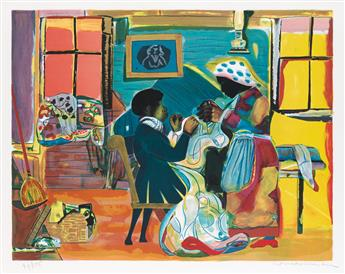 ROMARE BEARDEN (1911 - 1988) Quilting Time.