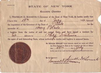 ROOSEVELT, FRANKLIN D. Partly-printed Document Signed, as Governor,