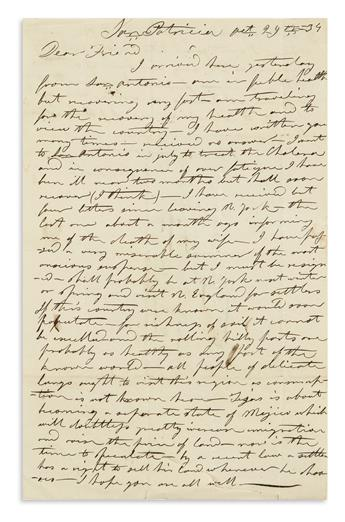(TEXAS.) Pollard, H. Letter describing life at an Irish Catholic settlement before Texan independence.