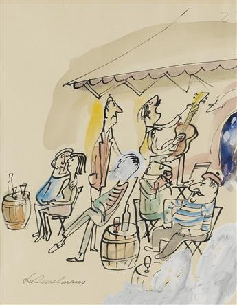LUDWIG BEMELMANS. There is shade under gray awnings, a guitar player, a mandolin picker, a girl singer softly entertains...
