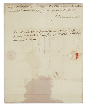 PAYING FOR DEBTS OF SON DISMISSED FROM HARVARD (SUPREME COURT.) JOHN MARSHALL. Autograph Letter Signed, J.Ma...