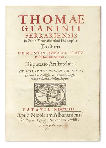 GIANNINI, TOMMASO. De mentis humanae statu post hominis obitum. Disputatio Aristotelica.  1614