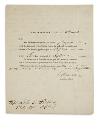 JOHN ARMSTRONG, JR. Partly-printed Document Signed, J. Armstrong, as Secretary of War, appointing John E. Calh...