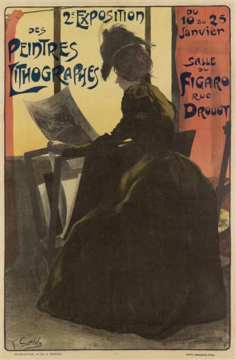 FERDINAND LOUIS GOTTLOB (1873-1935). 2E EXPOSITION DES PEINTRES LITHOGRAPHES. 1898. 46x30 inches, 118x77 cm. Lemercier, Paris.