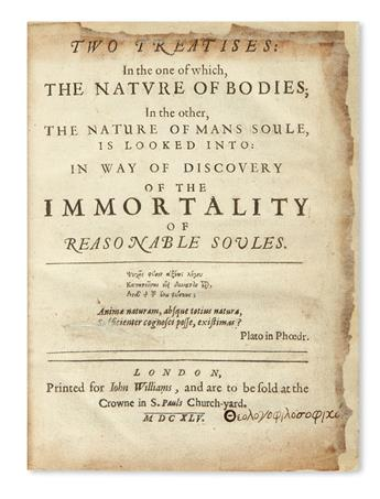 [DIGBY, KENELM, Sir.]  Two Treatises . . . in way of discovery of the immortality of reasonable soules.  1645.  Lacks the portrait.