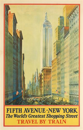 FREDERIC KIMBALL MIZEN (1888-1965). FIFTH AVENUE • NEW YORK / THE WORLDS GREATEST SHOPPING STREET. 1932. 39x23 inches, 101x60 cm. Lath