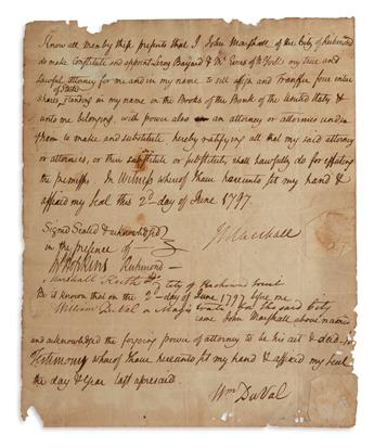 SELLING BANK OF THE UNITED STATES STOCK (SUPREME COURT.) JOHN MARSHALL. Autograph Document Signed, twice (JM...