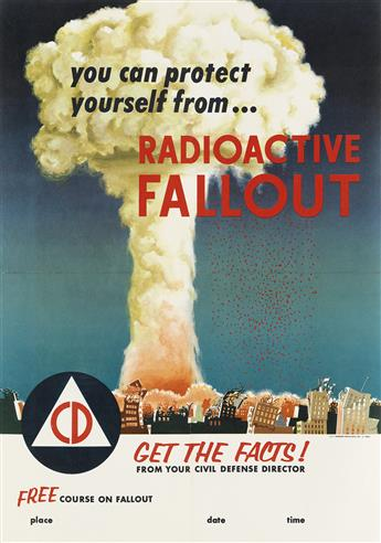 DESIGNER UNKNOWN. YOU CAN PROTECT YOURSELF FROM . . . RADIOACTIVE FALLOUT. 1955. 29x19 inches, 75x49 cm. U.S. Government Printing Offic