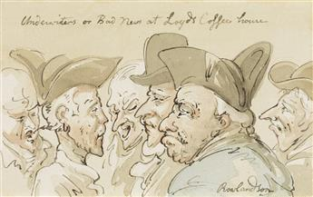 THOMAS ROWLANDSON (London 1756-1827 London) Underwriters or Bad News at Lloyds Coffee House.