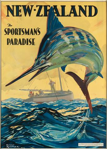 HARRY ROUNTREE (1878-1950). NEW ZEALAND / THE SPORTSMANS PARADISE. Circa 1920s. 36x26 inches, 91x66 cm. Coulls Somerville Wilkie Limit