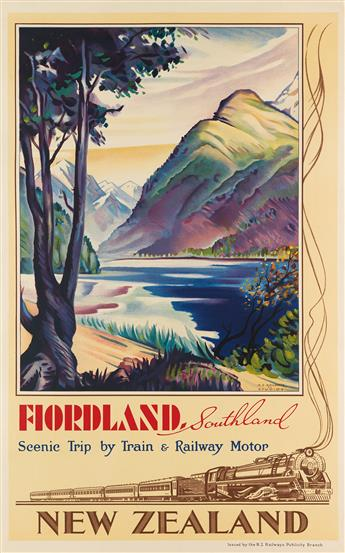 JOHN HOLMWOOD (1910-1987). FIORDLAND, SOUTHLAND / NEW ZEALAND. 1933. 39x25 inches, 100x 63 cm. N.Z. Railways Publicity Branch.