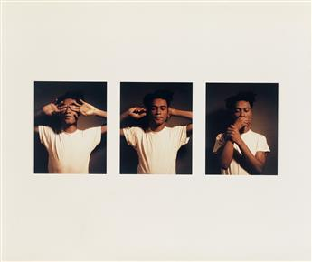 CARRIE MAE WEEMS (1953 -  ) Untitled (See No Evil, Hear No Evil, Speak No Evil).