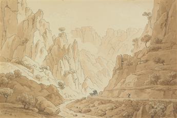 FLORENT FIDÈLE CONSTANT BOURGEOIS (Paris 1767-1841 Paris) A View of the Gorge of Ollioule near Toulon.