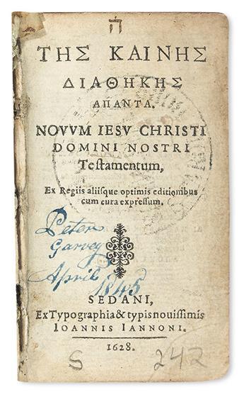 BIBLE IN GREEK.  Novum Jesu Christi Domini Nostri Testamentum.  1628 [i. e., 1629].  Miniature edition.