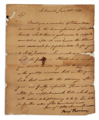 SIGNER BENJAMIN HARRISON. Letter Signed, Ben Harrison, as Governor, to an unnamed recipient (Sir), b...