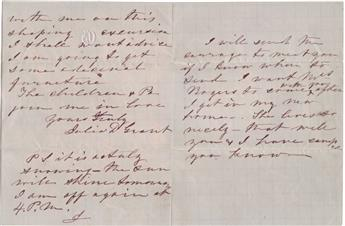 GRANT, JULIA DENT. Autograph Letter Signed, with a postscript additionally signed J, to Dear Mrs. Hillyer,