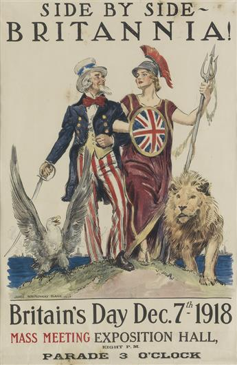 JAMES MONTGOMERY FLAGG (1870-1960). SIDE BY SIDE - BRITANNIA! 1918. 29x19 inches, 74x48 cm. American Lithographic Co., New York.