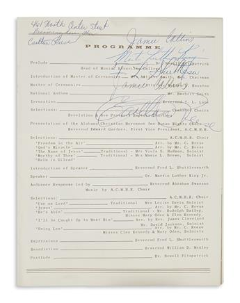 (KING, MARTIN LUTHER, JR.) A civil rights event program signed by Dr. King and his host Fred Shuttlesworth.