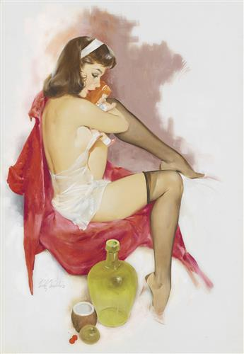 (PIN-UP) FRITZ WILLIS. Woman with her Doll.