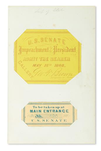 (CIVIL WAR--POLITICIANS--ALBUM.) Autograph album issued by Lippincott containing over 30 Signatures by American politicians of the Civi