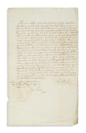 (SAINT KITTS AND NEVIS.) Wilkes, John. Document ordering the attachment of an estate on Nevis.