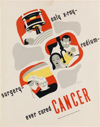 DOROTHY DARLING FELLNAGEL (1913-2006). ONLY X - RAY - RADIUM - SURGERY - EVER CURED CANCER. Circa 1940s. 28x22 inches, 71x56 cm.