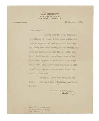 CUSHING, HARVEY. Typed Letter Signed, to Mrs. M.H. Rosenbaum,