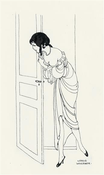 ADVERTISING FASHION GERDA WEGENER. Peeking around the door * Woman à la toilette.'
