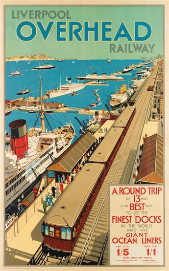 W.T. (DATES UNKNOWN). LIVERPOOL OVERHEAD RAILWAY. 39x25 inches, 101x63 cm. The Liverpool Printing & Stationery Co. Ltd, London.