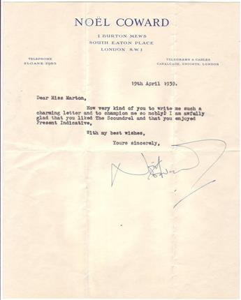 COWARD, NOËL. Brief Typed Letter Signed, to Ruth Marton,