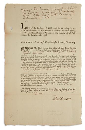 THOMAS HUTCHINSON. Partly-printed Document Signed, THutchinson, as Judge of Probate, approving the will and te...