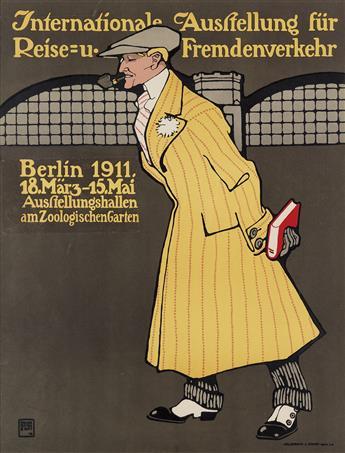 HANS RUDI ERDT (1883-1918). INTERNATIONALE AUSSTELLUNG FÜR REISE = U. FREMDENVERKEHR. 1911. 22x17 inches, 57x44 cm. Hollerbaum & Schmid