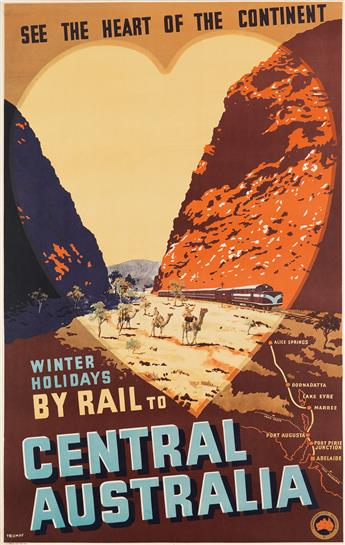 PERCIVAL (PERCY) ALBERT TROMPF (1902-1964). WINTER HOLIDAYS BY RAIL TO CENTRAL AUSTRALIA. Circa 1950s. 39x25 inches, 100x63 cm. A.C. Br