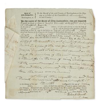 (AFRICAN-AMERICANS.) Cheswell, Wentworth. Document signed by the nations first African-American elected official.