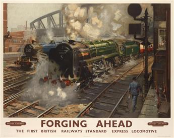 TERENCE CUNEO (1907-1996). FORGING AHEAD / BRITISH RAILWAYS. Circa 1955. 40x50 inches, 101x127 cm. Waterlow & Sons Limited, London.