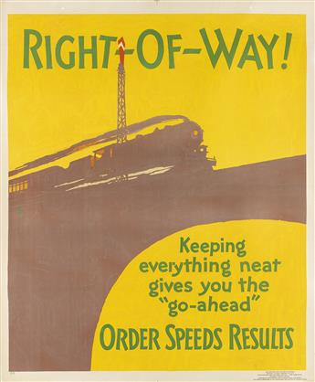 HENRY LEE JR. (DATES UNKNOWN). RIGHT - OF - WAY! / ORDER SPEEDS RESULTS. 1929. 43x36 inches, 110x91 cm. Mather & Company, Chicago.