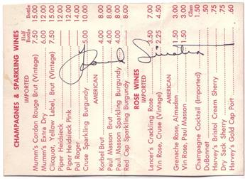 SINATRA, FRANK. Signature, on a wine list from the Dunes club in Palm Springs, CA.
