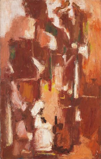 ALMA W. THOMAS (1891 - 1978) Etude in Brown (Saint Cecilia at the Organ).