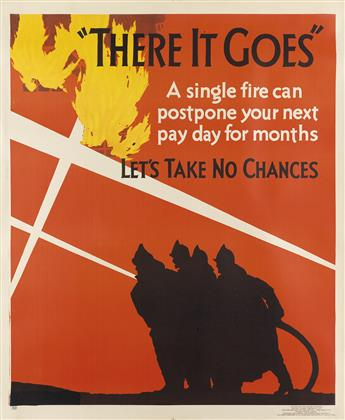 DESIGNER UNKNOWN. THERE IT GOES / LETS TAKE NO CHANCES. 1929. 44x36 inches, 111x94 cm. Mather & Company, Chicago.