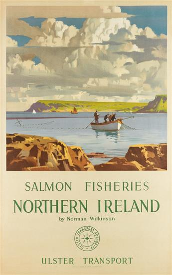 NORMAN WILKINSON (1882-1971). SALMON FISHERIES / NORTHERN IRELAND. 1926. 40x25 inches, 101x64 cm. London Lithographic Co., London.